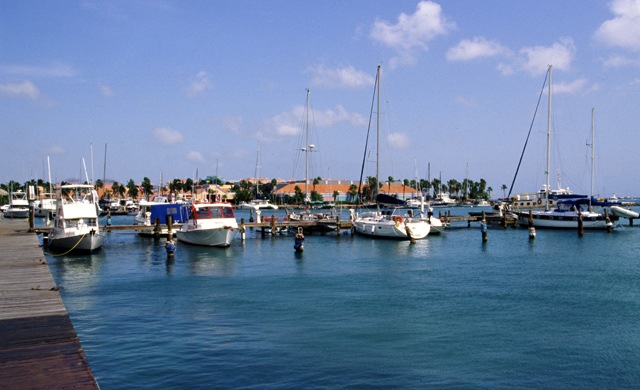Small fishing boats in the port of Aruba