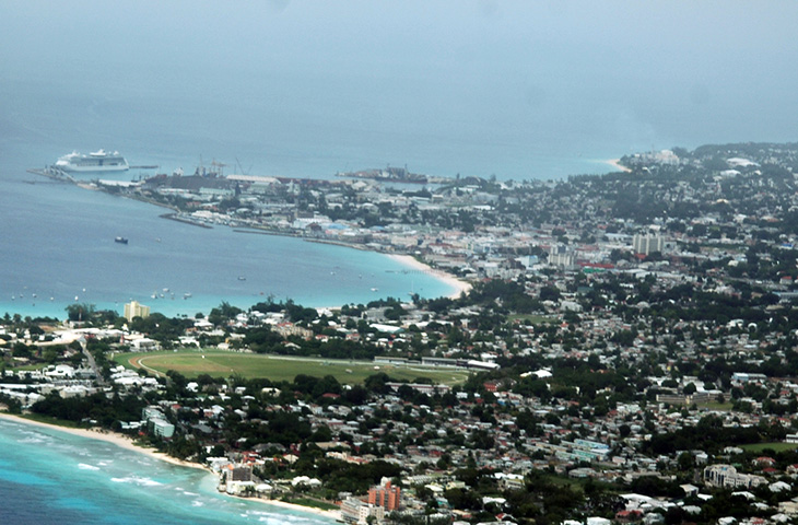 Bridgetown, Barbados harbor seen from the air