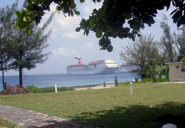 Cruise ships docked off the coast of Grand Cayman