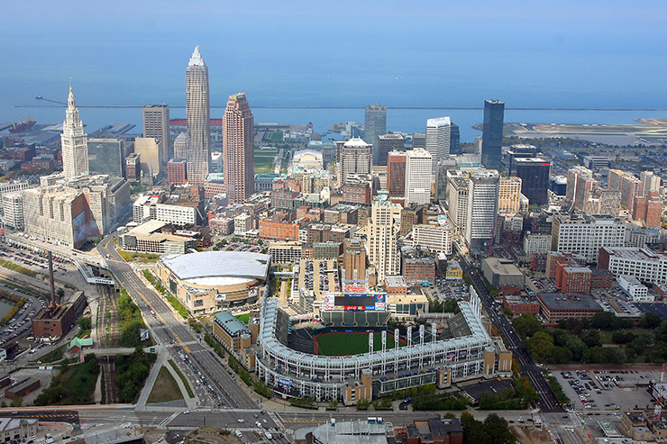 Cleveland skyline from above