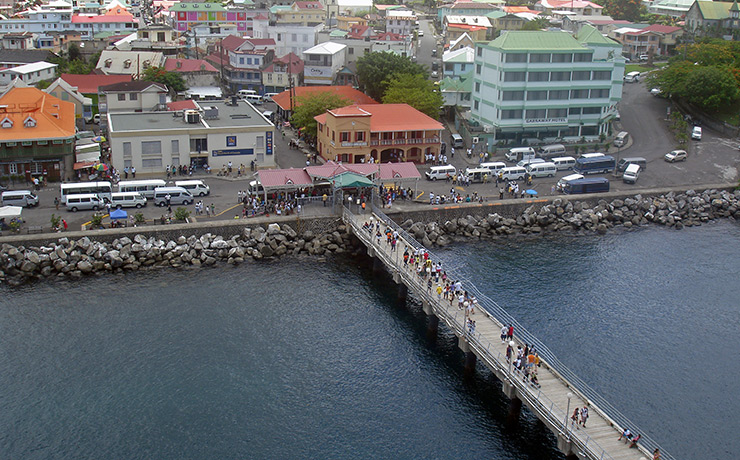 The cruise port walkway to Dominica
