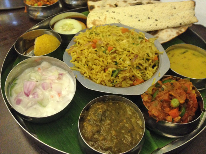 A Thali meal in Little India