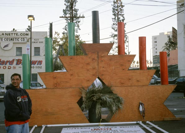 Giant Kinara holding the 7 candles of Kwanzaa