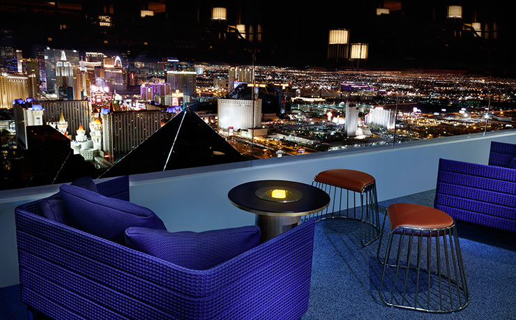 64-story exterior balcony of Skyfall Lounge at Delano Resort