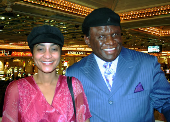 George Wallace greeted by patron Annette Jackson