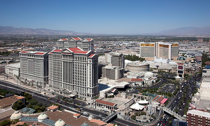 Aerial view of the Caesars Palace campus first opened in 1966