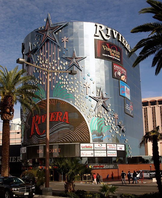 Riviera marquee looks sedate during the day, Las Vegas