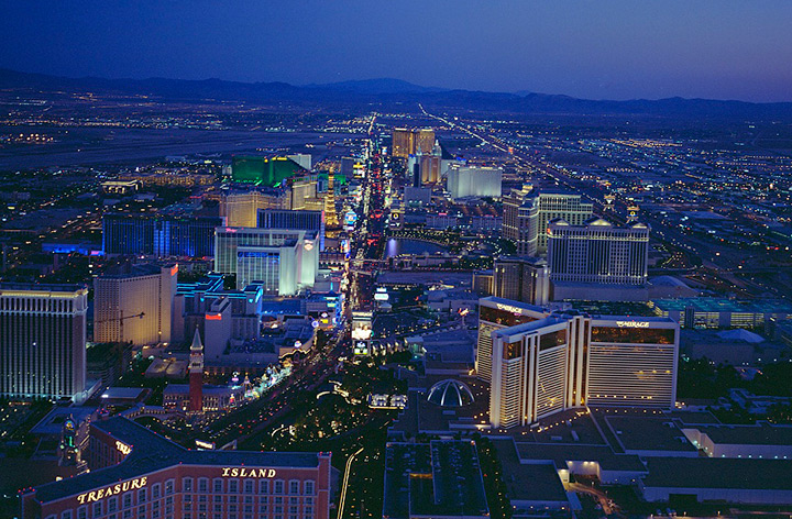 Aerial night view of Upper Strip, Las Vegas