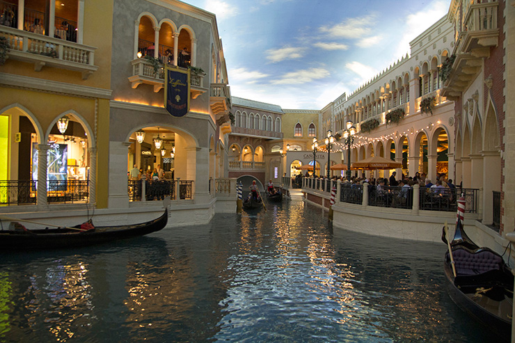 Shops and cafes along the Venetian Grand Canal