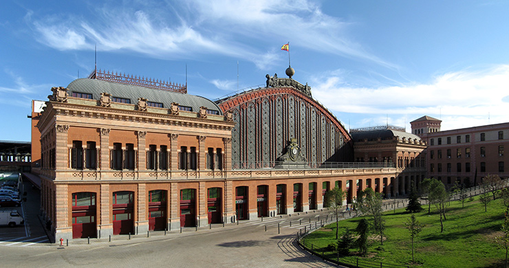 Atocha Station, the Intermodal Transportation Center where most trains, rapid transit, buses, taxis and shuttles meet in Madrid