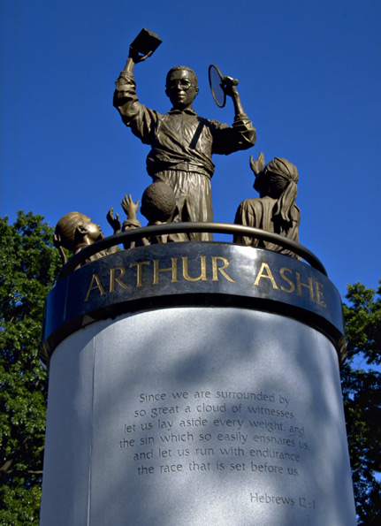 Arthur Ashe Monument close up