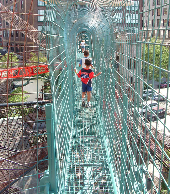 Walking the overhead trail at city museum