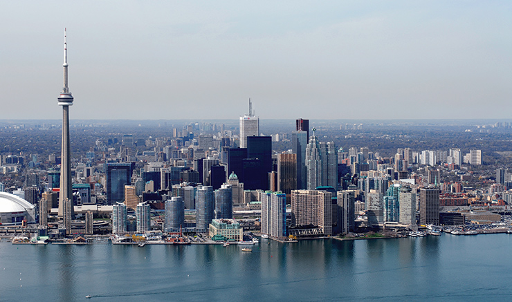 Lake Ontario frames the notable Toronto skyline