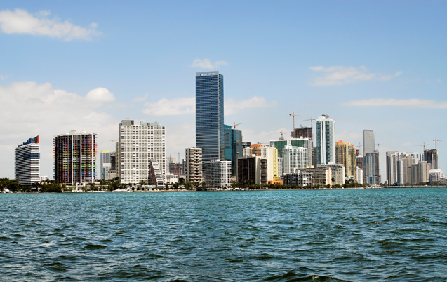 Miami's Brickell Avenue skyline seen from Biscayne Bay