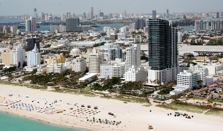 Aerial view of Miami Ocean Beach
