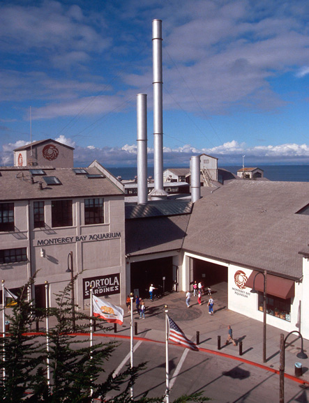 Monterey Bay Aquarium lies at the western end of Monterey Cannery Row