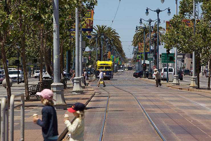 SF Muni Transit used the opportunity to reintroduce vintage streetcars running down the palm tree-lined Embarcadero