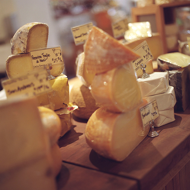 A wide selection of artisonal cheeses for sale in the Ferry Building